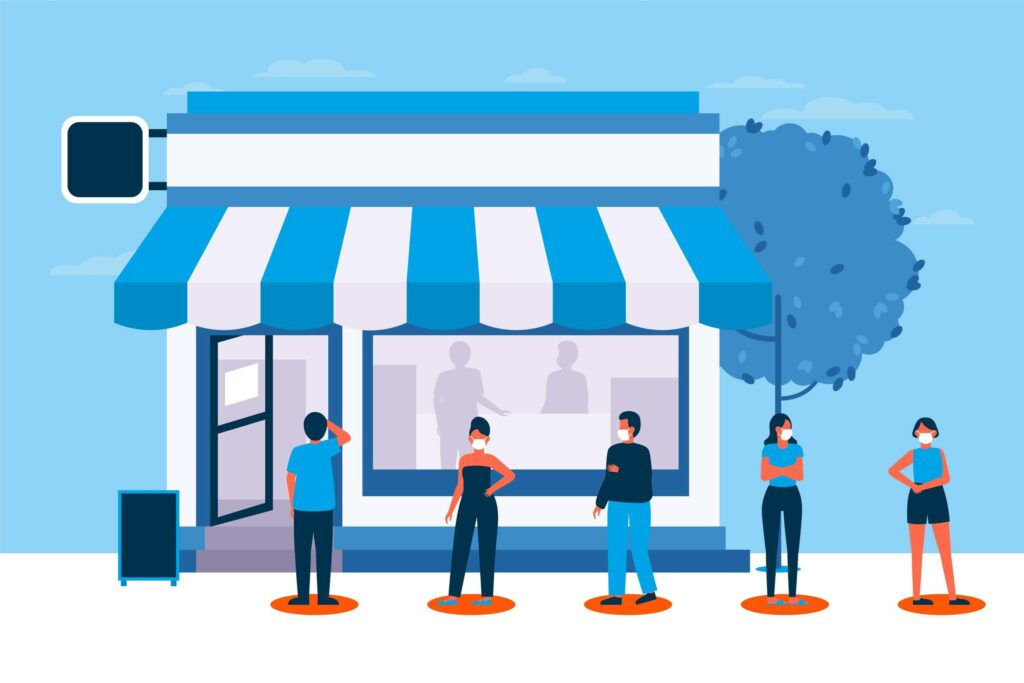 Retail store with customers in line - Milano Retail Software
